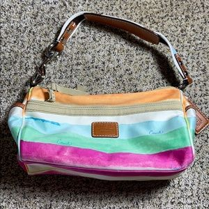 Coach Bright Rainbow Striped Purse